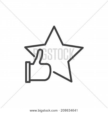 Rating with star and thumb up line icon, outline vector sign, linear style pictogram isolated on white. Success symbol, logo illustration. Editable stroke