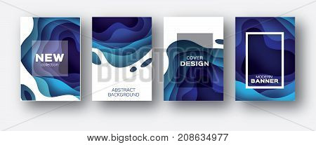 3D abstract background with paper cut shapes. .Layered tonnel wave background. Shadows box. Vector design for business presentations, flyers, posters