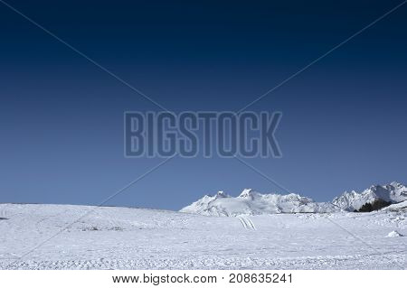 landscape from vetan during winter in aosta valley
