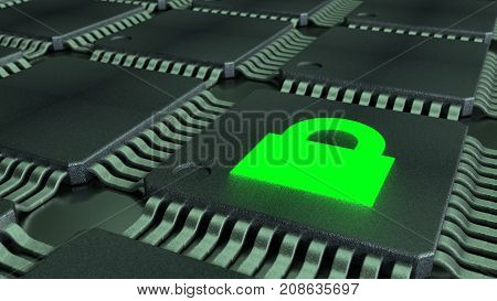 Grid of connected CPUS and a green padlock symbol glowing cybersecurity of internet of things concept 3D illustration