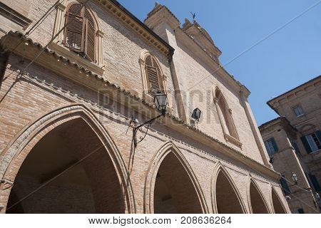 Ostra (Ancona Marches Italy): the historic town at morning. Palace