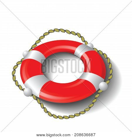Red Lifebuoy and Rope Isolated on White Background