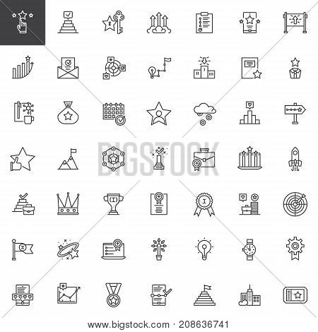 Business marketing line icons set, outline vector symbol collection, linear style pictogram pack. Signs, logo illustration. Set includes icons as profits, rating, success, promotion, startup, work