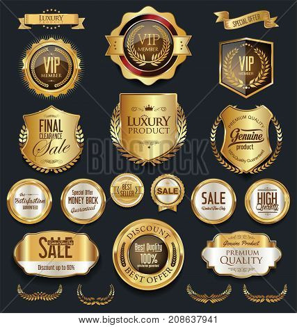 Gold And Silver Shields Laurel Wreaths And Badges Collection 4.eps
