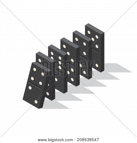 Falling dominoes. Concept of Domino effect. Vector illustration of isometric projection isolated on white background