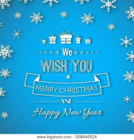 Holiday paper winter poster with congratulate text presents ribbon falling snow on light blue background vector illustration