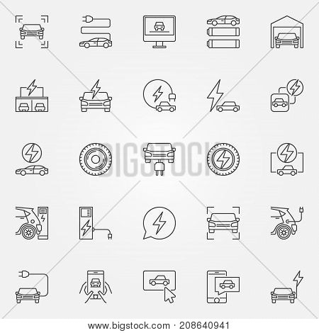 Electric car icons set. Vector electric vehicle and car charging concept symbols in thin line style