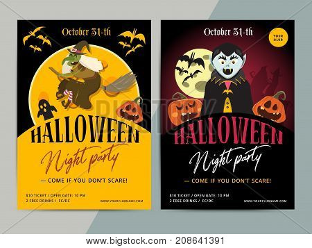 Happy Halloween Party Poster Template Design. All Hallow Eve Flyer In Scary Cartoon Style. All Saint