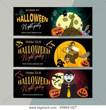 Happy Halloween Party Ticket Template Design. All Hallow Eve Invitation Flyer Or Poster In Scary Car