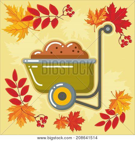 Wheelbarrow of garden and farm tool icon with autumn leaves. Vector Isolated autumn agricultural illustration.