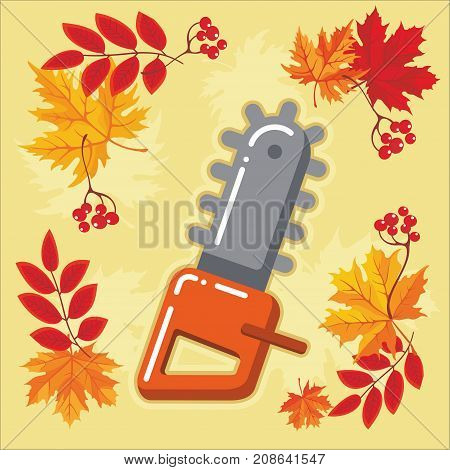 Chainsaw of garden tool icon with autumn leaves. Vector Isolated autumn agricultural illustration.
