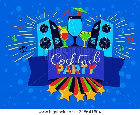 Cocktail party lettering on banner. Disco club poster with loudspeackers and music. Vector illustration for party and nightclub invitation greeting cards vacation backgrounds cocktail party backdrops