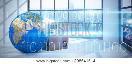 3D image of blue lines on planet Earth by box against blue technology design with binary code