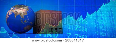 3D image of planet Earth and box against stocks and shares