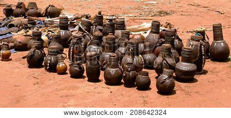 Traditional pitchers and pots at handicrafts local market Kei Afer Omo valley Ethiopia
