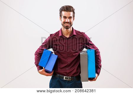 Portrait of young businessman who is motivated and ready for work.