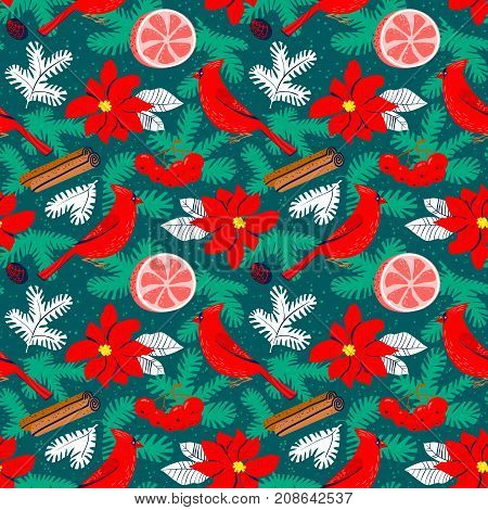 Christmas background with poinsettia red flower. Winter floral seasmless pattern with cardinal bird grapefuit canella pine tree branches. Seasonal design for wrapping backdrops textile cards
