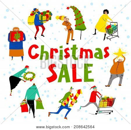 Shopping people set. Christmas sale lettering. Group of people in rush time in winter hilidays eve. Vector card with funny man and woman with shopping carts and bags with gifts. Seasonal lifestyle illustration for placards and stickers backgrounds and lab