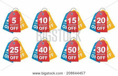 Percent off shopping tag. 3d illustration .