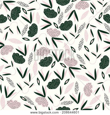 Vector seamless pattern with abstract style. The flowers and leaves.