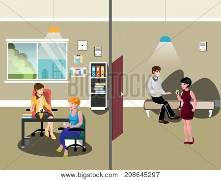 Job interview. man and woman sitting and waiting for interview. Vector illustration