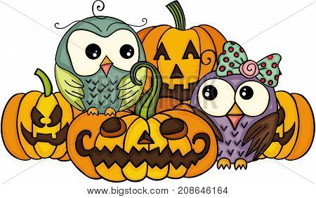 Scalable vectorial image representing a couple owls and Halloween pumpkins, isolated on white.