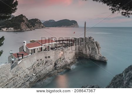 PETROVAC MONTENEGRO - SEPTEMBER 30 2017: Old Venetian Castello Fortress is the main attraction of the Montenegrin town of Petrovac.
