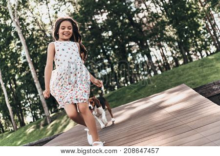 Playful girl. Full length of cute little girl looking away and smiling while walking with her dog outdoors