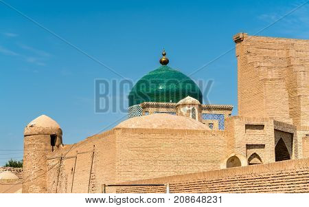 Historic buildings at Itchan Kala fortress in the historic center of Khiva. UNESCO world heritage site in Uzbekistan, Central Asia