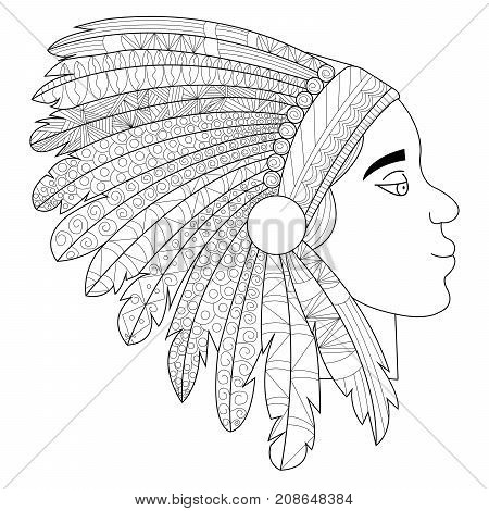 Native american indian warrior profile with war headdress, t-shirt design. Anti-stress coloring for adult. Zentangle style. Black and white lines. Lace pattern