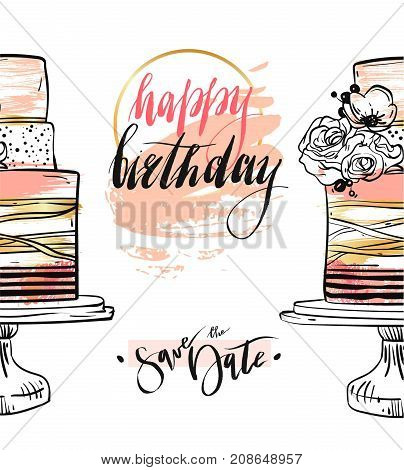 Hand drawn vector abstract textured Happy birthday save the date card template with gold, pastel colors, birthday cakes, flowers and modern ink lettering isolated on white background.