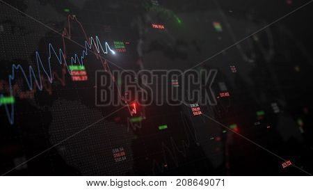 3d render. Statistic graph of stock market data and financial analysis. Stock market graph. Many financial charts on dark background with growing charts. Big data on LED panel.