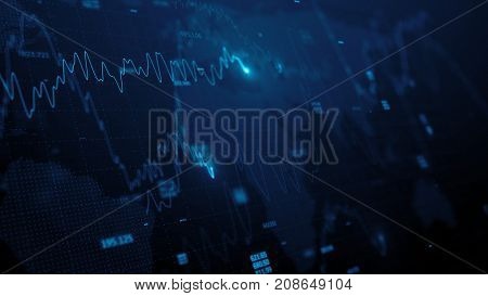 3d render. Statistic graph of stock market data and financial analysis. Stock market graph. Financial statistical analysis on blue background with growing charts. Big data on LED panel.