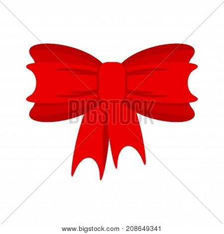 Red vector bow. Decoration for gift box for holidays, Christmas, New Year, birthday. Flat vector cartoon illustration. Objects isolated on white background.