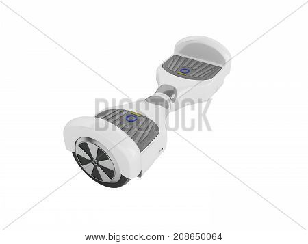 Gyroboard White From The Back Perspective 3D Render On A White Background No Shadow