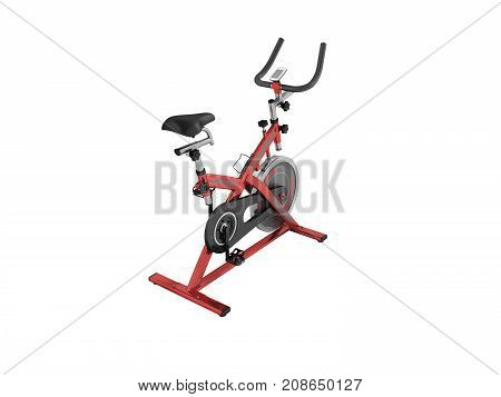 Modern Exercise Bike Red Perspective 3D Render On White Background No Shadow