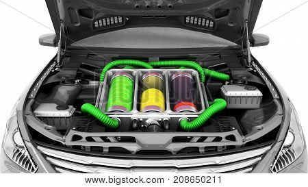 Concept Of Battery Capacity Of An Electric Car Batteries Under The Hood 3D Render On White
