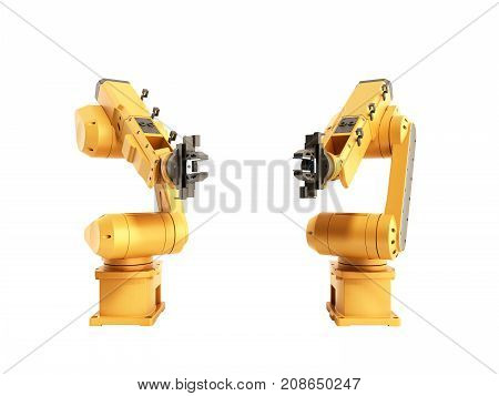 Industrial Robots On White Background No Shadow 3D Rendering