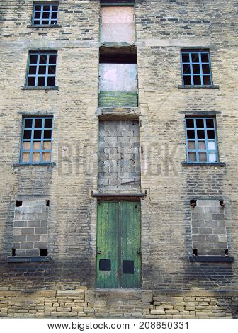 abandoned disused old derelict factory or mill building in halifax west yorkshire england