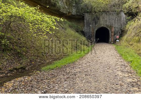 Bike Trail Tunnel - A former railroad line now a bike trail with a tunnel.