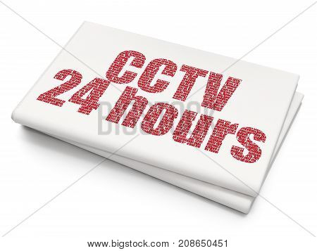 Security concept: Pixelated red text CCTV 24 hours on Blank Newspaper background, 3D rendering