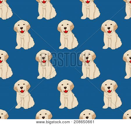 Labrador Golden Retriever Dog Seamless on Indigo Blue Background