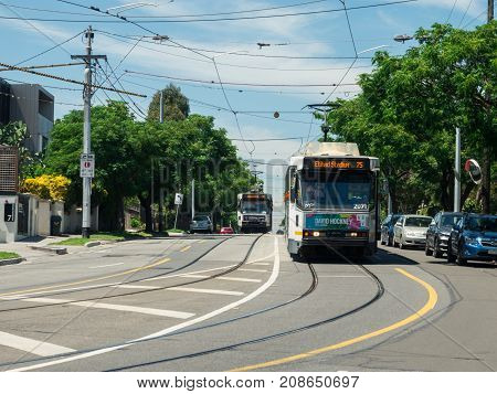 Melbourne, Australia - February 10, 2017: a Melbourne tram travelling along Riversdale Road at the Swan Street and Power Street intersection in Hawthorn.