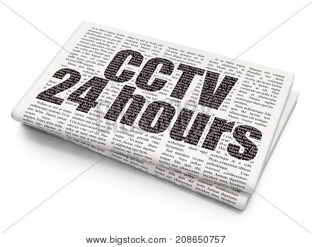 Safety concept: Pixelated black text CCTV 24 hours on Newspaper background, 3D rendering