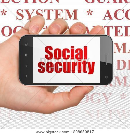 Safety concept: Hand Holding Smartphone with  red text Social Security on display,  Tag Cloud background, 3D rendering
