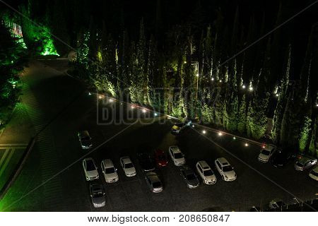 Yalta, Crimea - 11 July, Cars at night parking, 11 July, 2017. Night surroundings and adjoining territories of hotel Yalta Intourist.