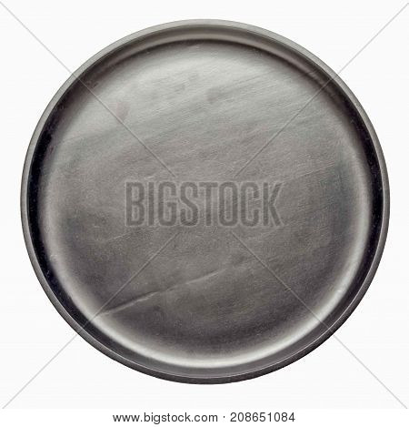 empty black wooden circle tray isolated on white background top view.