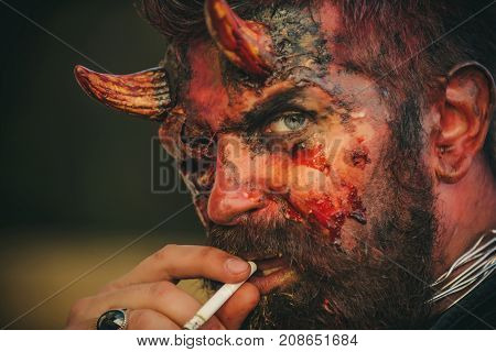 Halloween Devil Smoking Cigarette