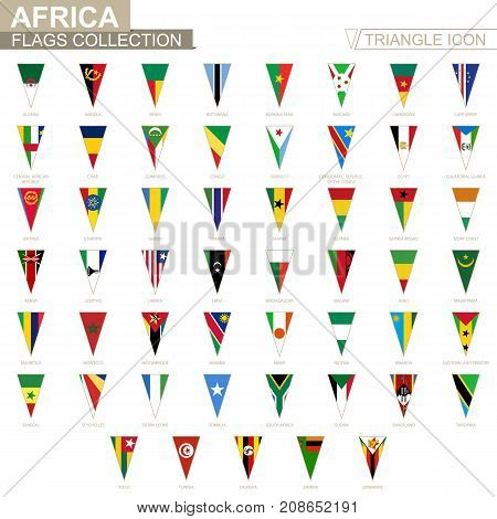 Flags Of Africa, All African Flags. Triangle Icon.