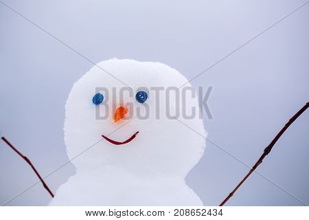 Christmas or xmas decoration. Happy holiday and celebration. New year snowman from white snow outdoor. Winter activity and party. Snowman with face of carrot and button.